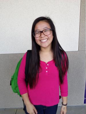Angela Chaung, the Sophomore Princess, smiles at the camera.
