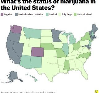 The map shows the current legality of pot by state. Photo courtesy of Vox.com