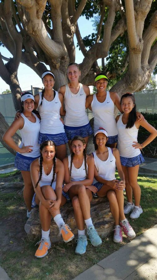 The YLHS Tennis Seniors, in all their glory. Left to right:  Leah Heyman, Kiana Tomeo, Rachel Stumpf, Miranda Maravilla-Louie, Tori Ngyuen, Farah Modarres, Katie Byrens, Robin Jang