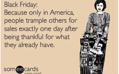 A humorous eCard that explains the danger of Black Friday.