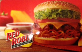 A photo from a Red Robin's giftcard. Do you SEE the delicious burger???
