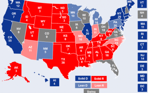 Here is a map of the electoral college with the swing states in gray. Courtesy of Goldman Sachs Global Research.