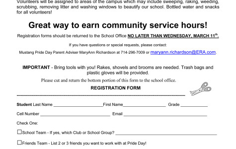 Print out this form, fill it out, and place it in the box at the front office to join this year's Mustang Pride Day