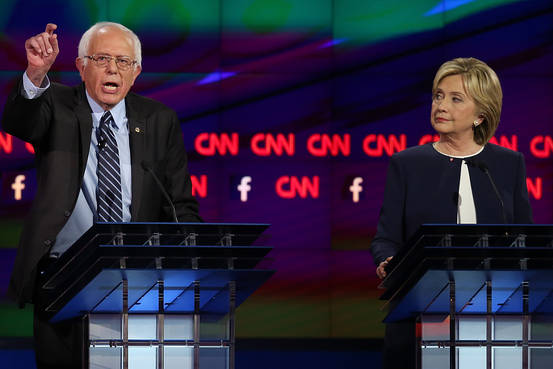 Bernie Sanders and Hillary Clinton at the Debate
