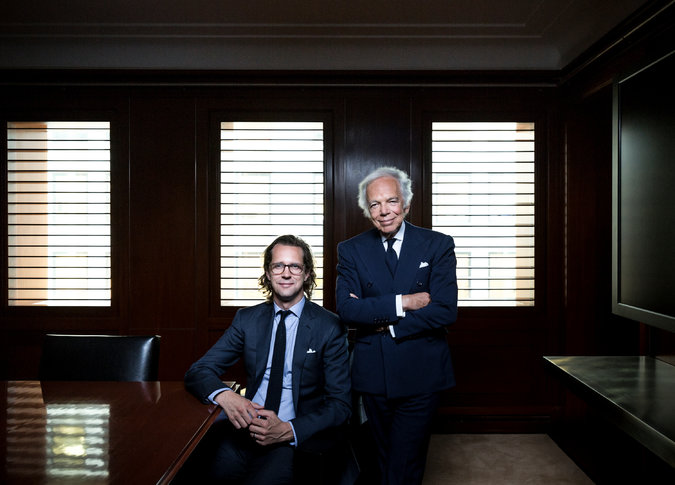 Ralph Lauren, on the right, and Steph Larsson, the new CEO, together at the Ralph Lauren offices in New York.