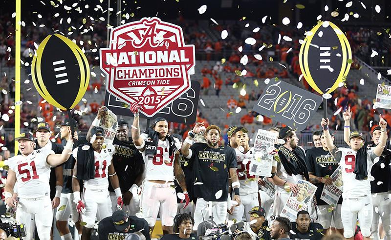Alabama players celebrate after they defeated Clemson 45-40 to win the Playoff Championship NCAA football game (Photo Courtesy of Sports Illustrated)