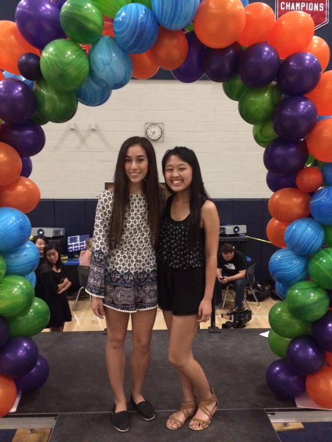 Nicole Espinosa (12) poses with ASB member Deborah You (12).