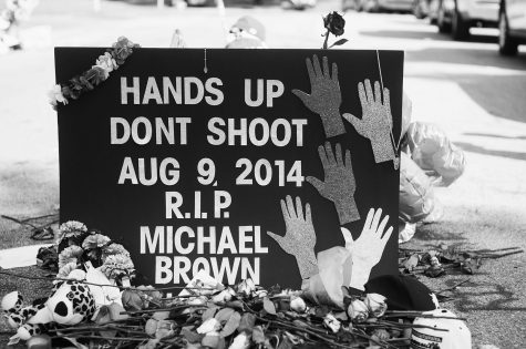 Activists pay respect to Mike Brown at a memorial during a protest.