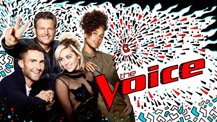Judges+Adam+Levine%2C+Blake+Shelton%2C+Miley+Cyrus%2C+and+Alicia+Keys+pose+next+to+the+revamped+%27The+Voice%27+logo.