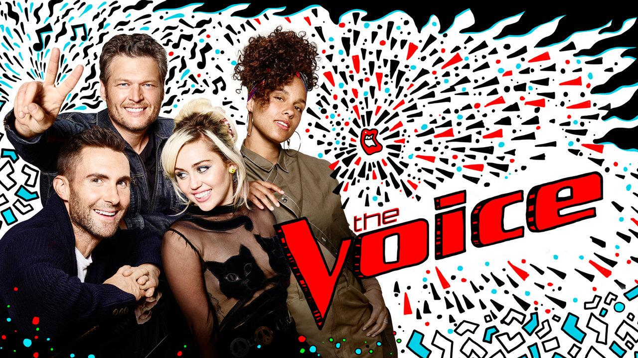 Judges Adam Levine, Blake Shelton, Miley Cyrus, and Alicia Keys pose next to the revamped 'The Voice' logo.