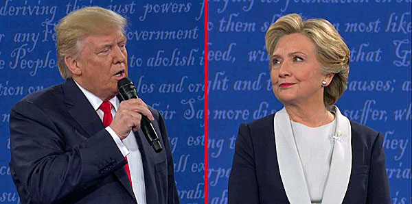 Republican nominee Donald Trump and Democratic nominee Hillary Clinton at the 2nd presidential debate;                photo courtesy of WND