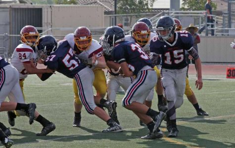 Yorba Linda playing against the Aztecs in their last won game.