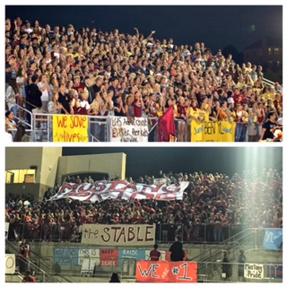 Both the YLHS and EHS student sections display their school pride as they cheer on their teams.