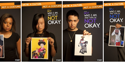 "This is a poster from a campaign called ""We're a culture, not a costume"" made in Ohio University."
