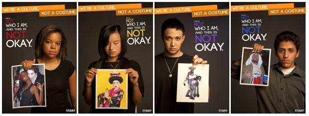 """This is a poster from a campaign called """"We're a culture, not a costume"""" made in Ohio University."""