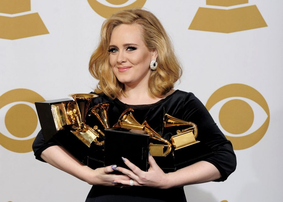 After+a+night+filled+with+two+preformances+and+one+heart+felt+speech%2C+Adele+leaves+the+2017+Grammys+with+5+awards.