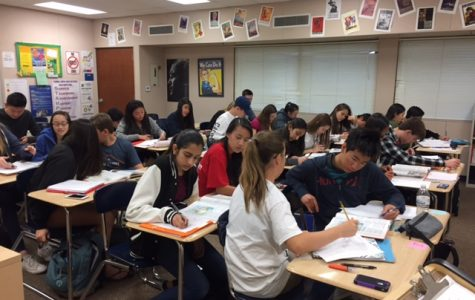 The students of AP Human Geography work diligently on an assignment in class.