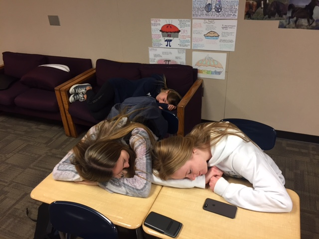 Seniors Lindsey Kitchen, Taylor Provenzano, and Julianna Thrasher display their Senioritis in class.