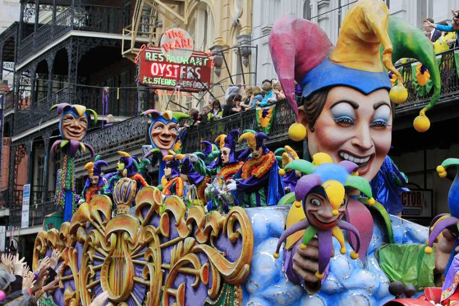 Floats fill New Orleans on Mardi Gras.