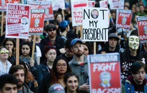 Anti-Trump protesters in a march.