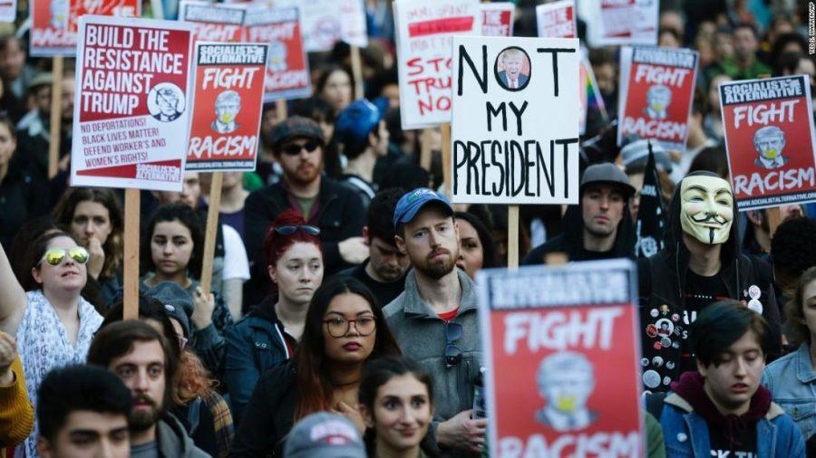 Anti-Trump+protesters+in+a+march.++