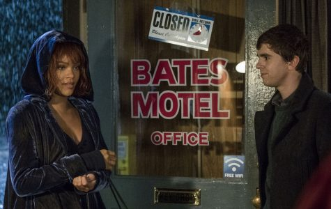 A screencap of season 5 featuring Rihanna as Marion Crane and Freddie Highmore as Norman Bates.