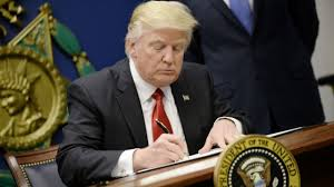 President Trump signing executive orders