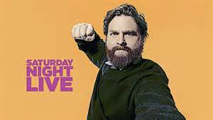 Above, Zach Galifianakis poses for the cover of a live SNL skit set to take place on the next saturday night edition.