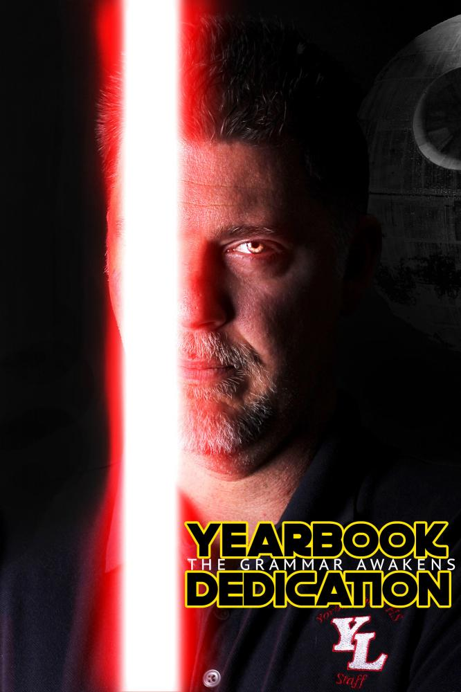 Above, Mr. Cadra poses in a Star Wars themed picture. Combining the two things that he loves, Star Wars and Grammar