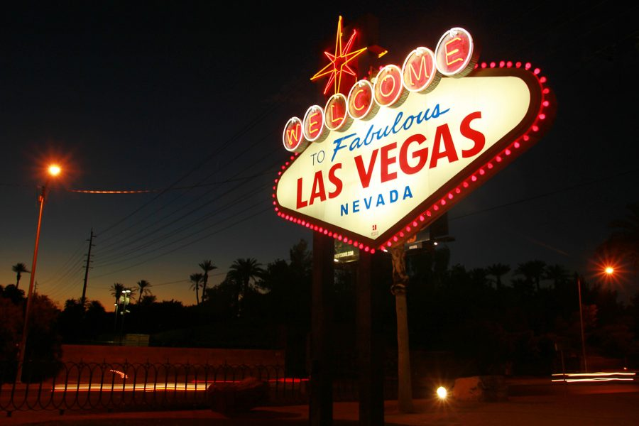 Above, the sign that welcomes all who enter the entertainment capital of the world, is soon to be welcoming the newly pronounced Las Vegas Raiders.
