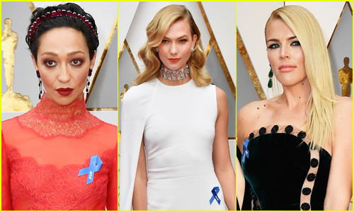 Ruth Negga(left), Lin-Manuel Miranda(middle), and Karlie Kloss(right) support ACLU with their blue ribbons at the 2017 Oscars. Photo courtesy of Just Jared.com