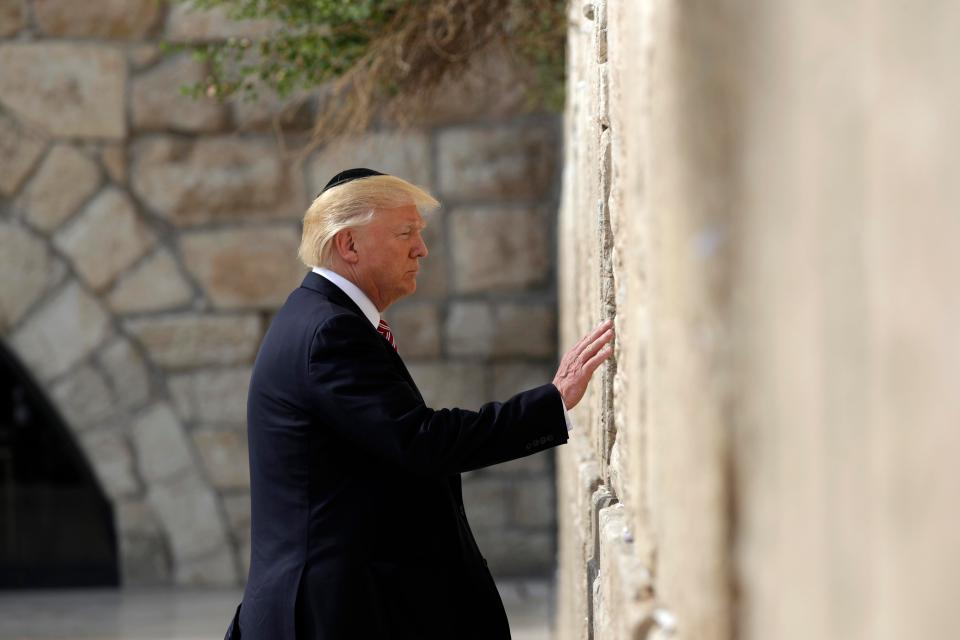 Trump visits Western Wall. Photo courtesy of The Sun