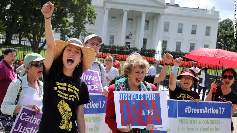 DACA protests in front of the White House. Photo Credit: CNN