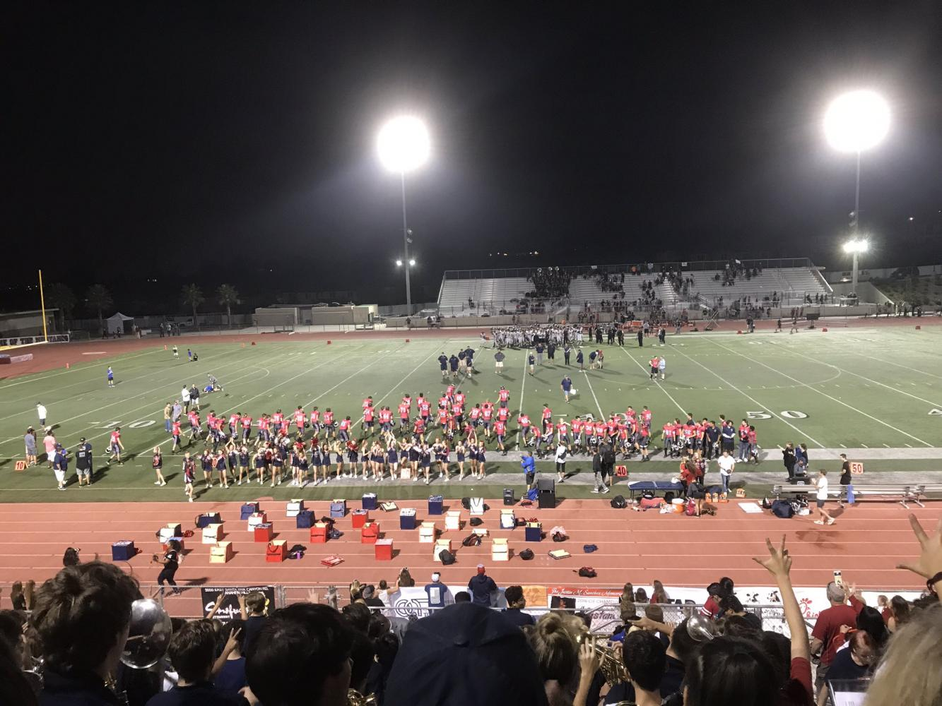 After the game, the Mustangs thank the crowd for supporting and cheering them on throughout the entirety of the game