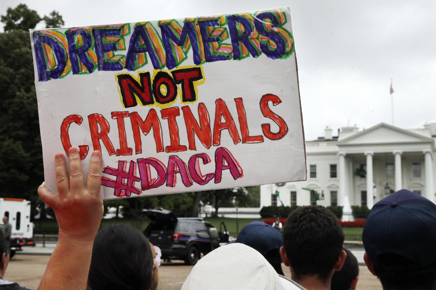Supporters of the DACA program rally in front of the White House.