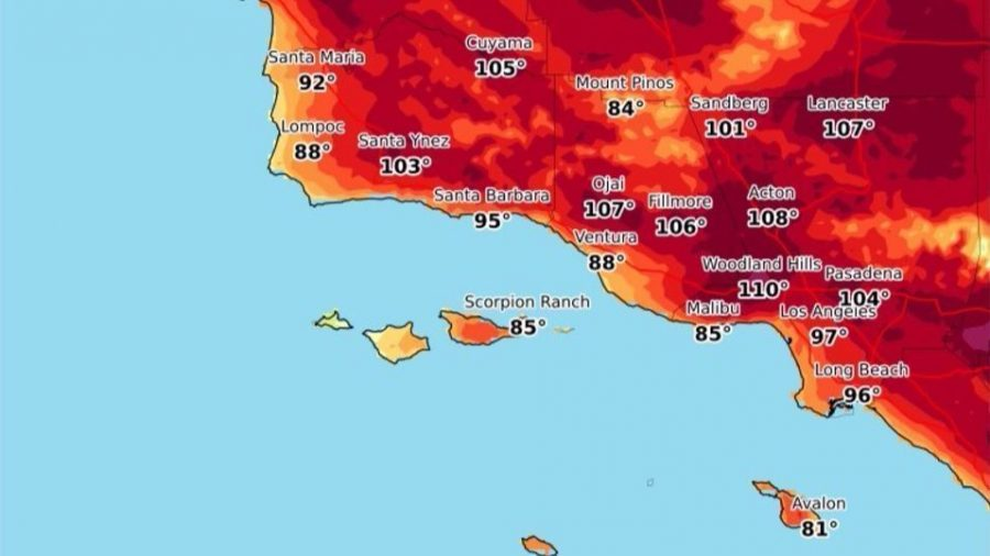 Temperatures of some cities in California during the 2017 heat wave.  Photo Credit: http://www.latimes.com/local/lanow/la-me-dangerous-heat-20170826-htmlstory.html