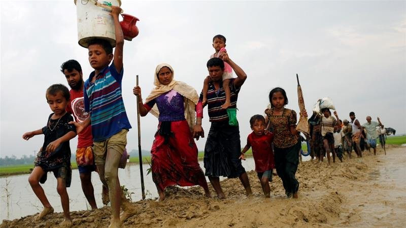 Rohingya Muslims fleeing to Bangladesh. More than 370,000 people have poured into Bangladesh seeking refuge and peace.