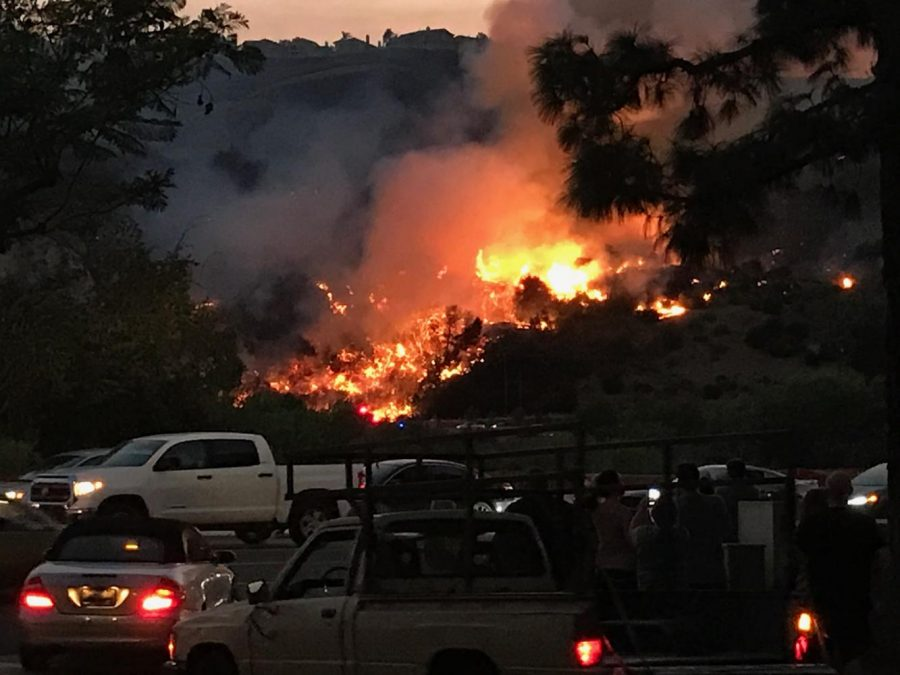 The the fire burned through the night and severely delayed traffic