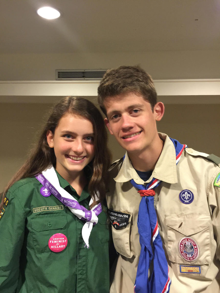 Girl joins Boy Scout troop with her brother.