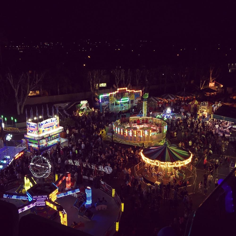 This is the top of the ferris wheel looking over all of the festival on its busiest night during its most popular time.