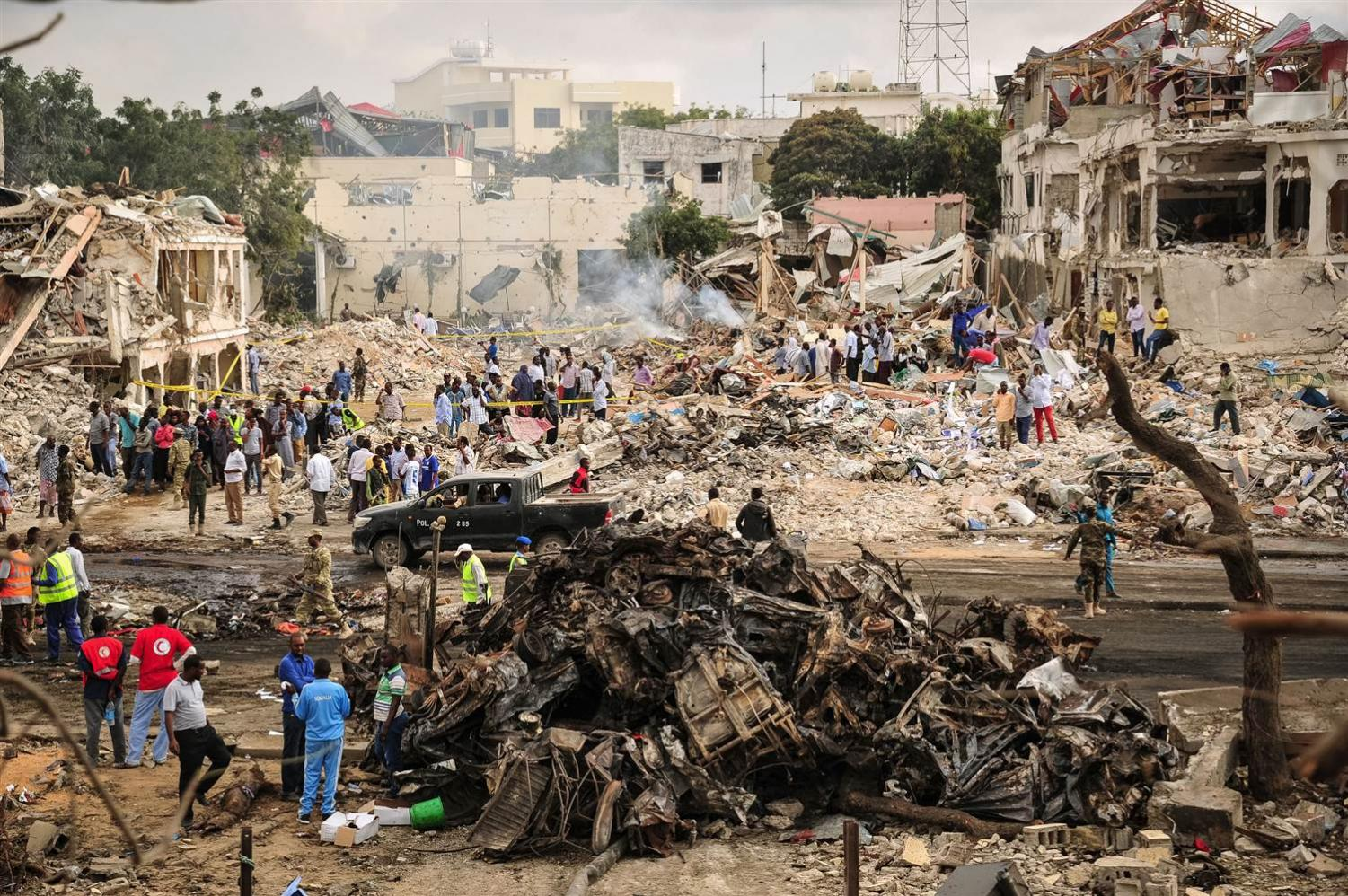 The rummage left after the Somalia bombing.