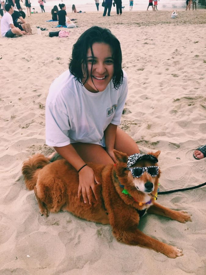 Brenda enjoying her day at the beach with a dog.