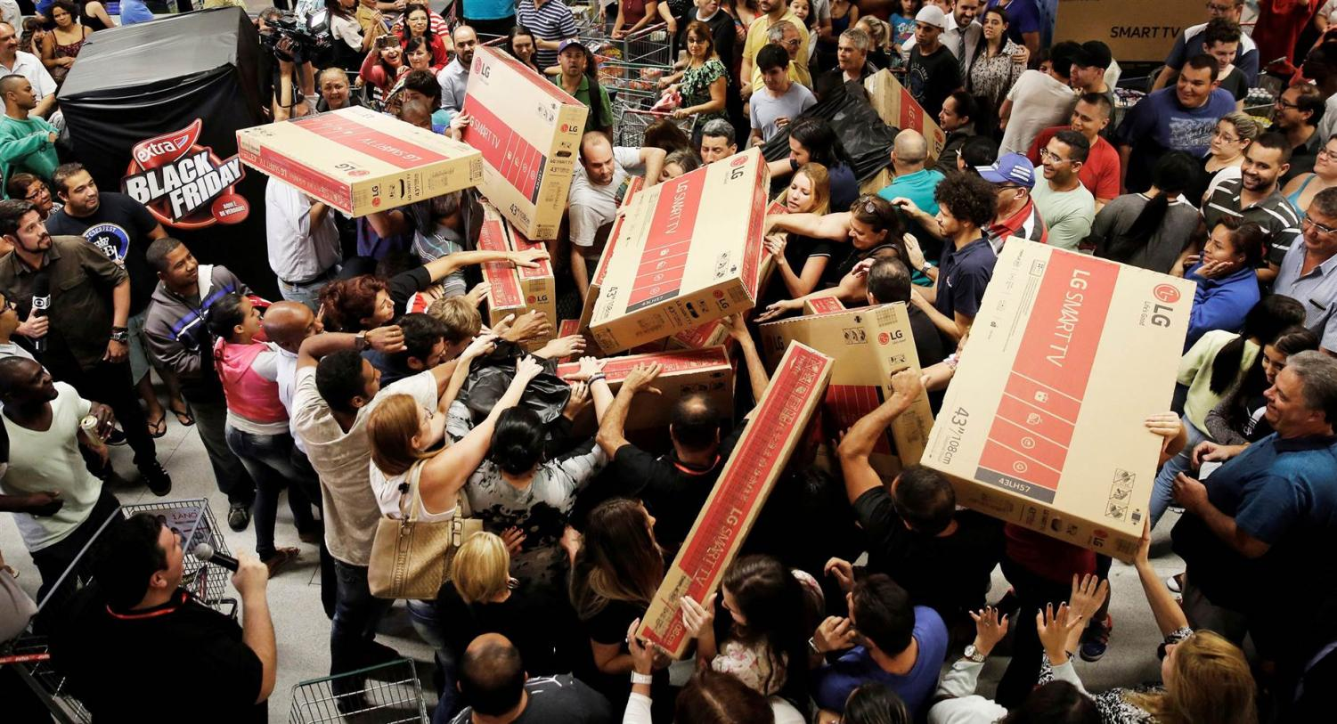 Frantic shoppers await the latest tv of 2017. Fighting every which way for a piece of the action.