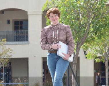 Kate Shepherd (11) walks down the runway as one of her favorite T.V. characters, Barb.