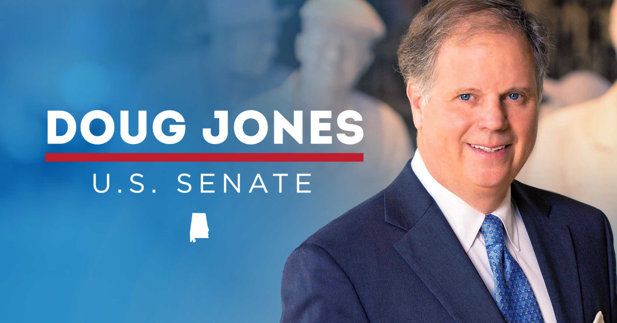 Above, Doug Jone's seat for the senate is sealed with a win over Republican Roy Moore.