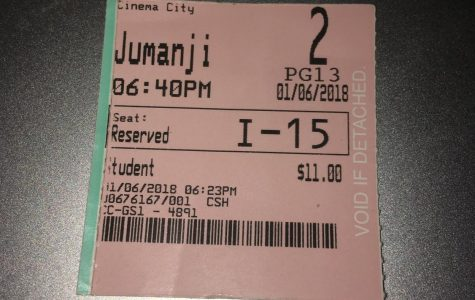 This is the ticket from my personal screening of the movie Jumanji.