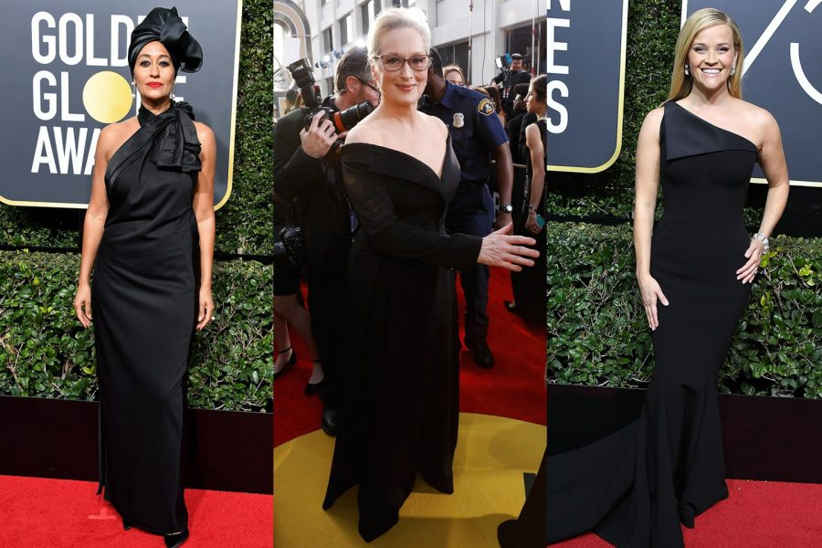 The+red+carpet+turns+into+a+sea+of+black+as+actresses+show+off+their+all+black+attire+in+solidarity+with+the+anti-sexual+harassment+organization%2C+Time%E2%80%99s+Up.