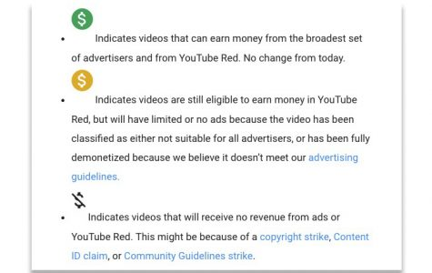 Youtube and their demonetization policy explained using symbols.