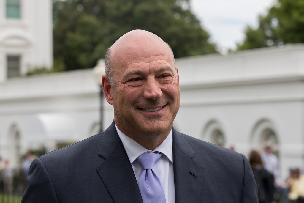 Below, Cohn makes one last walk from the White house to the Presidential mall for his departure.