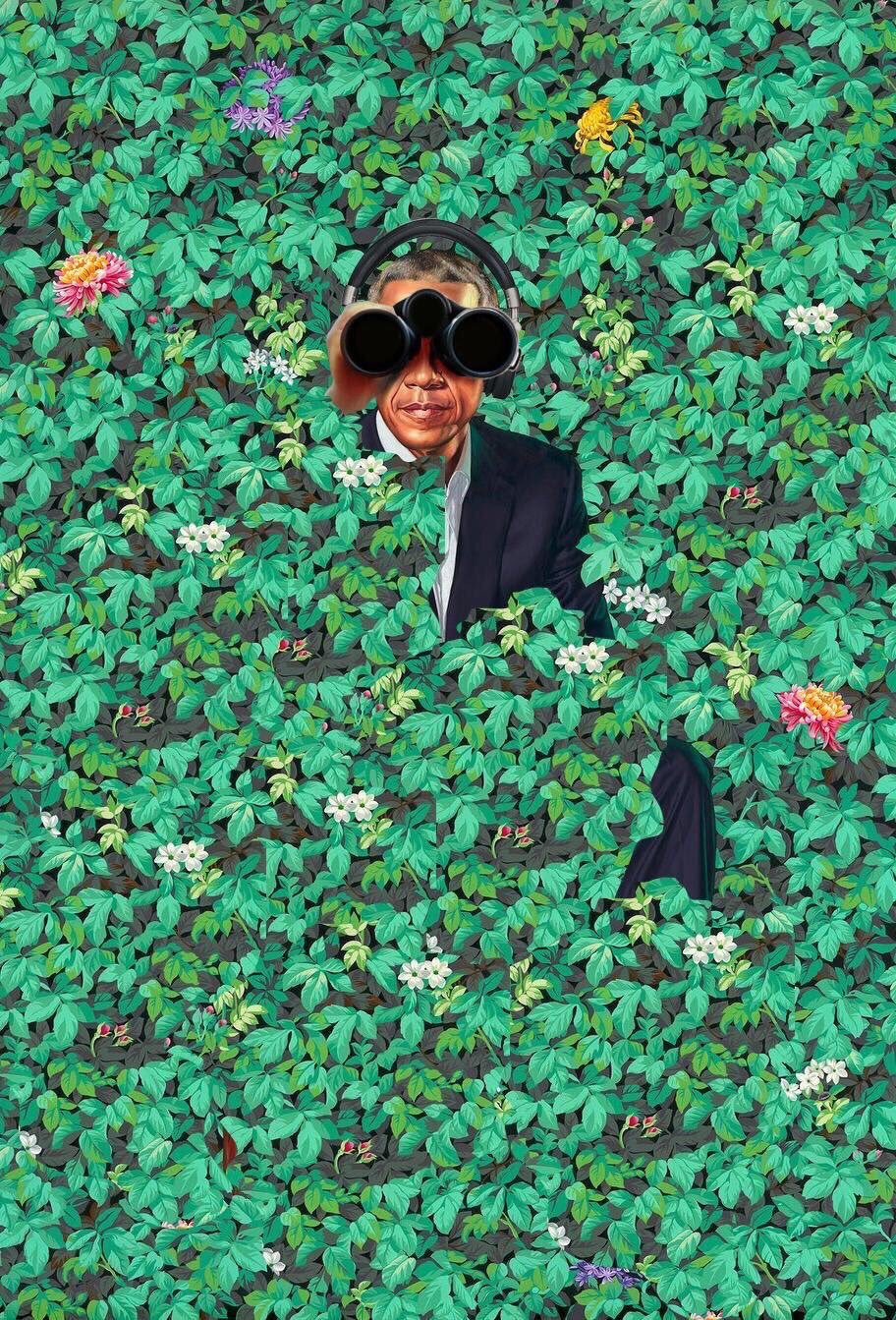 Obama+spying+on+the+public+hidden+from+the+bushes.+Photo+Credit%3A+Twitter